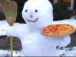 Snowman with pizza